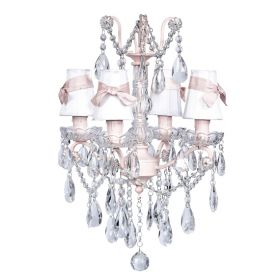 Four Arm Crystal Glass Center Chandelier in Pink with White Shades and Pink Sashes