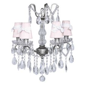 Four Arm Crystal Glass Center Chandelier in Pewter with Pink Shades and White Sashes