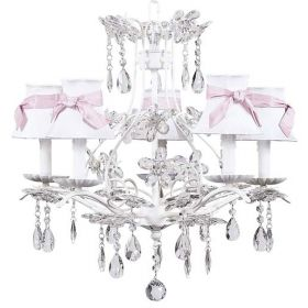 Five Arm Cinderella Chandelier in White with White & Pink Shades