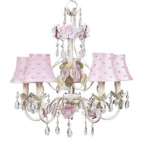 Five Arm Flower Garden Chandelier in Crackled Ivory, Sage & Pink with Pink Pearl Dot Shades