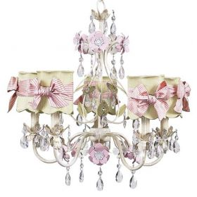 Five Arm Flower Garden Chandelier in Crackled Ivory, Sage & Pink with Scalloped Green & Pink Check Shades