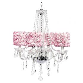 Four Arm Middleton Glass Chandelier with Pink Rose Garden Shades