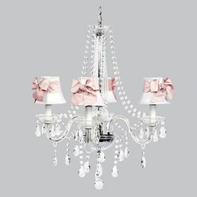 Four Arm Middleton Glass Chandelier with White Shades and Pink Sashes