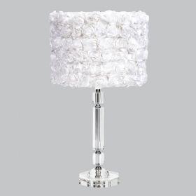 Crystal Slender Table Lamp with White Rose Garden Drum Shade