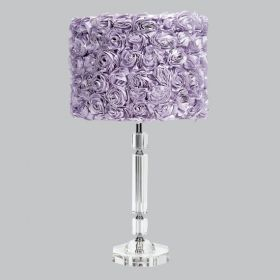 Crystal Slender Table Lamp with Lavender Rose Garden Drum Shade