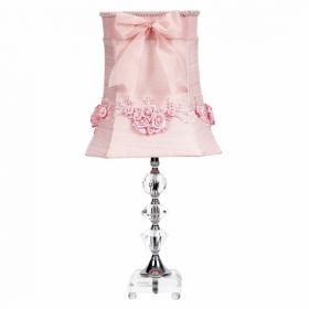 Crystal Medium Table Lamp with Pink Floral Bouquet Shade