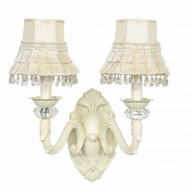 Ivory Skirt Dangle Shade on 2 Arm Turret Ivory Wall Sconce