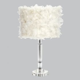 Crystal Slender Table Lamp with White Feather Drum Shade