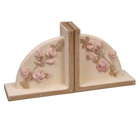 Floral Pink Rose Trimmed in Gold Handpainted Wooden Bookends with Bling