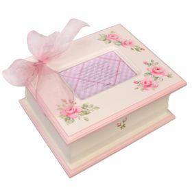 Memory Handpainted Keepsake Box in Pink with Roses