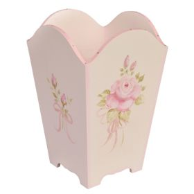 Pink Handpainted Wastebasket with Roses and Bling