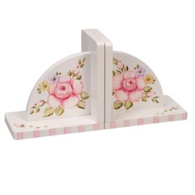 Pink Roses Handpainted White Bookends