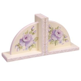Lavender Sponged Handpainted Wooden Bookends with Lavender Roses and Bling