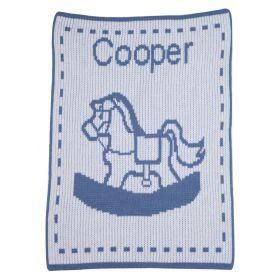Single Rocking Horse Stroller Blanket with Name