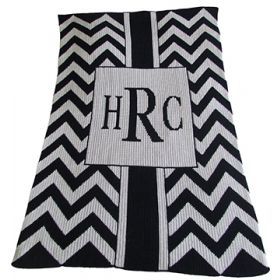 Chevron with Box Stroller Blanket with Initials