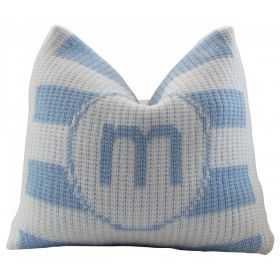 Modern Stripe Pillow with Single Initial