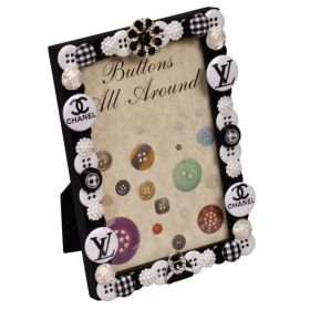 Black and White Buttons All Around Buttons Vertical Picture Frame