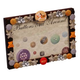 Baby Boy Brown Buttons All Around Horizontal Picture Frame