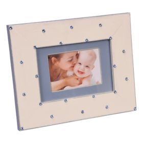 Hand Painted Picture Frame in Pink and Blue with Swarovski Crystals