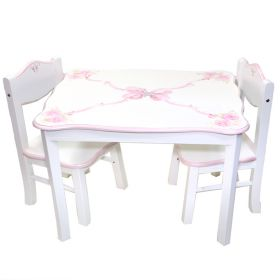 Rectangular Table and Chair Set Handpainted with Bows and Crystals