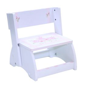 Pink Stripes with Pink Flowers Handpainted White Flip Stool