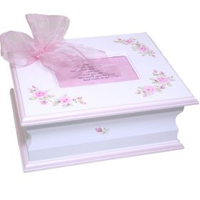 Memory Handpainted Box with Pink Flowers