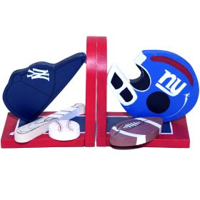 New York Yankee and Giants Sports Handpainted Bookends