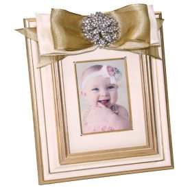 Gold and Pink Handpainted Picture Frame with Gold Ribbon and Crystal Brouch