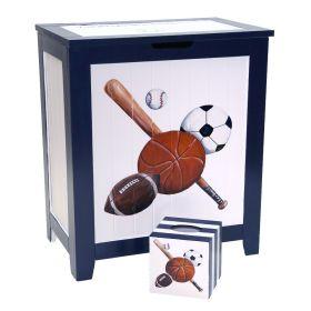 Sports Handpainted Hamper & Matching Tissue Box