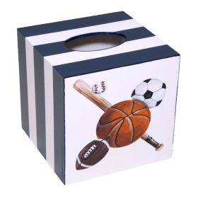Sports Fan Handpainted Tissue Box with Blue Stripes