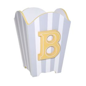 Initial Handpainted Wastebasket with Grey Stripes and Yellow Trim