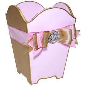 Pink and Gold Hand Painted Wastebasket with Double Bow and Brooch