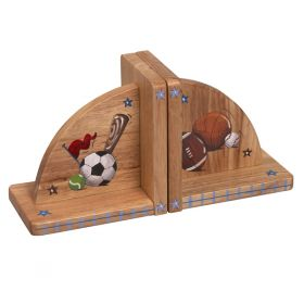 Sports Handpainted Natural Bookends
