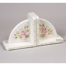 Rose Delight Handpainted White Bookends