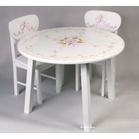 Round White Handpainted Table and Chair Set with Pink Flowers