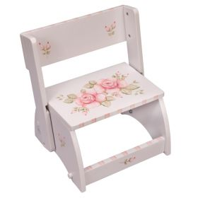 Rose Bouquet White Handpainted Flip Stool