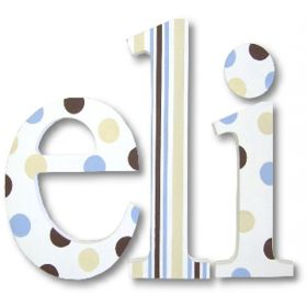 Eli French Vanilla and Chocolate Hand Painted Wooden Wall Letters