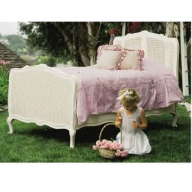 Dominique Twin Bed with Caning in Antico White