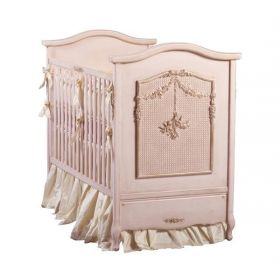 Cherubini Crib in Versailles Pink with Caning