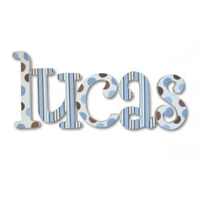 Lucas Blue and Chocolate Hand Painted Wooden Wall Letters