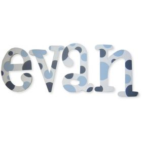 Evan Blue Polka Dot Hand Painted Wooden Wall Letters