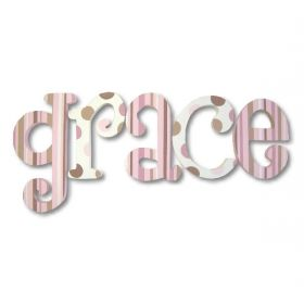 Grace Chocolate Strawberry Cheescake Hand Painted Wooden Wall Letters