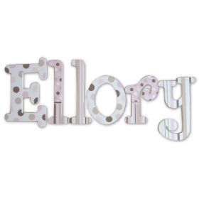 Ellory Pink and Brown Dots Hand Painted Wooden Wall Letters