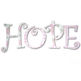 Hope Flowers and Stripes Hand Painted Wooden Wall Letters