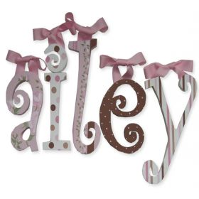 Ailey Pink and Chocolate Hand Painted Wooden Wall Letters