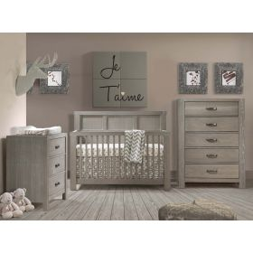 Rustico 3 Piece Nursery Set Crib, Double Dresser and 5 Drawer Dresser in Owl
