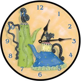 Whimsical Teapots Round Clock