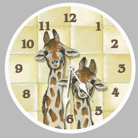 Giraffes Round Clock