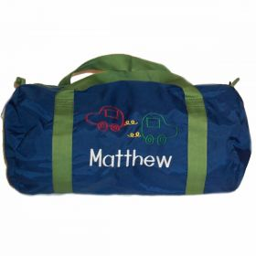 Children's Personalized Duffle Bag in Blue & Green