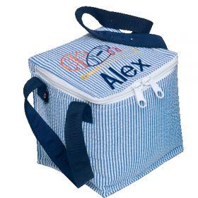 Children's Personalized Seersucker Mini Lunch Box in Navy